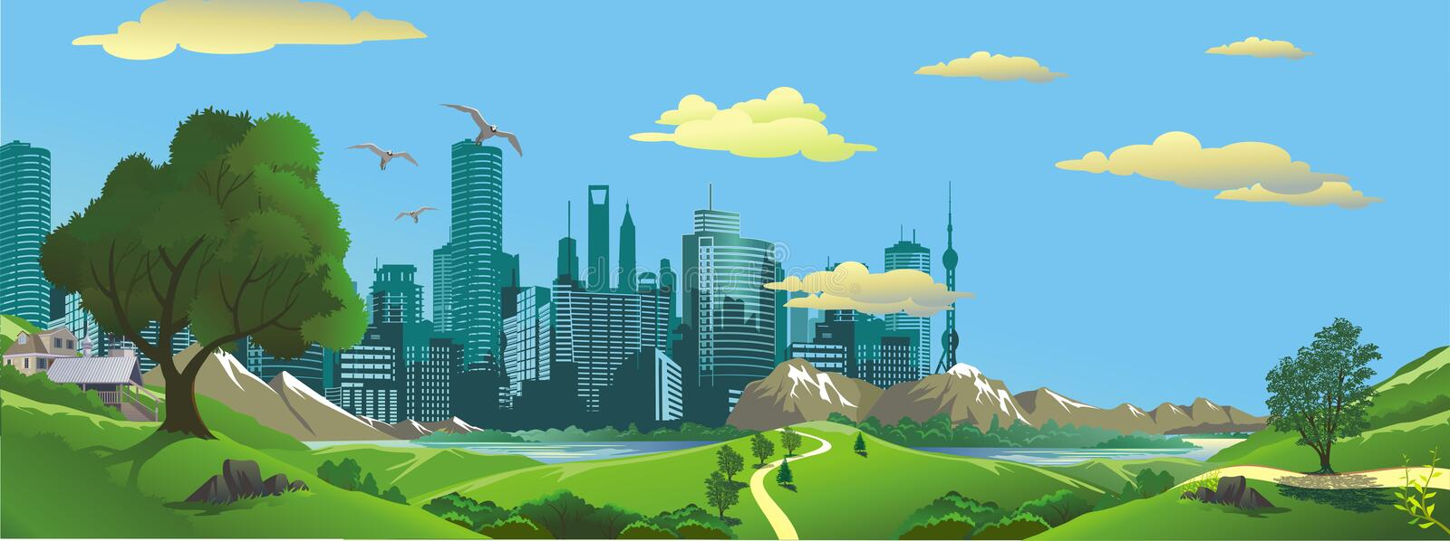 Landscape - the view from the hill to the modern city. royalty free illustration