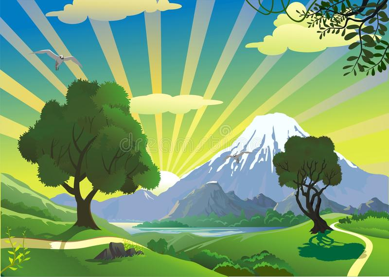 Landscape - the view from the hill on the volcano. Mountain range. Nature, countryside. stock illustration