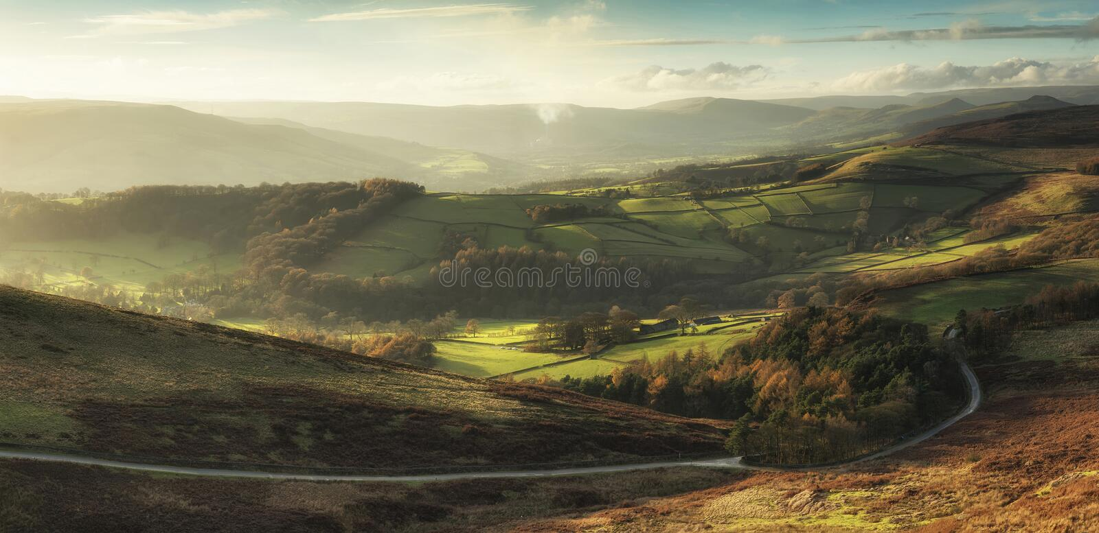 Beautiful landscape view of Hope Valley in Peak District during. Landscape view of Hope Valley in Peak District during autumn sunset royalty free stock image