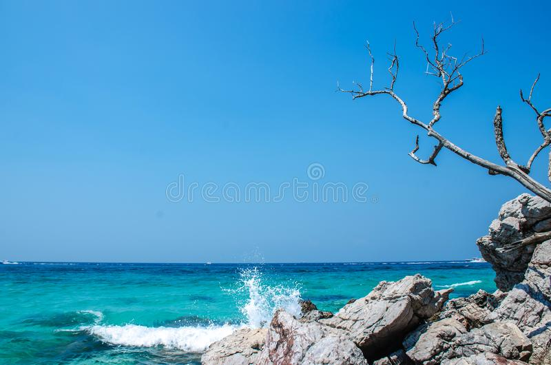 Landscape view koh larn island popular tropical beach on a hot weather and fine day in pattaya city to chonburi province of. Thailand stock photography