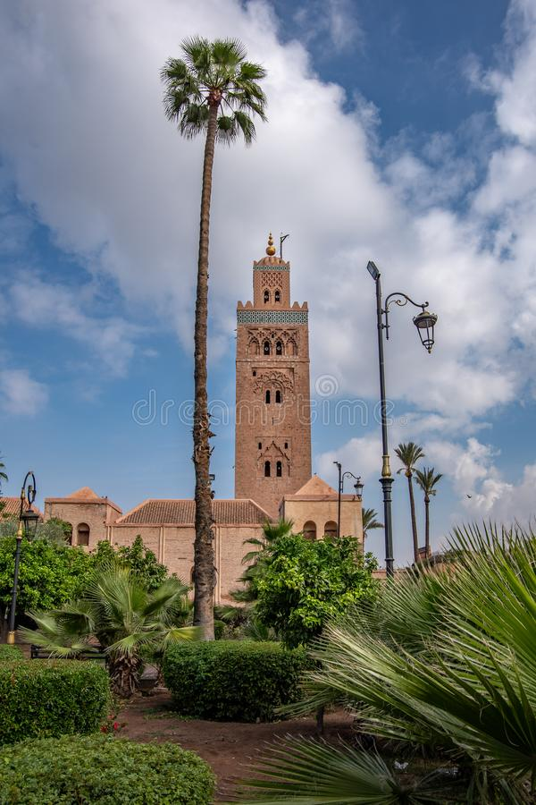 Landscape view of the Koutoubia mosque minaret and the garden in front. Marrakech, Morocco stock photos