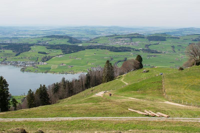 Landscape view of lake Lucerne from mountain Rigi in Switzerland. Hiking path, trail. stock photo