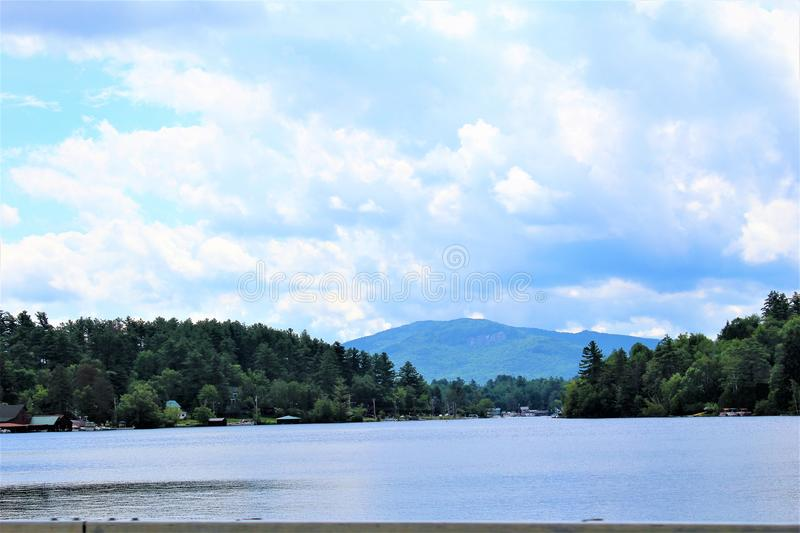 Lake Placid. Landscape view of Lake Placid, New York village and Mirror Lake royalty free stock images