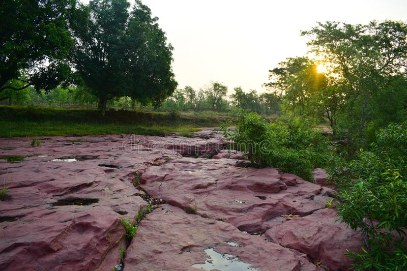 Landscape view of lalpather seems beautiful in Jharsuguda, Odisha in India. Lalpather is a picnic place in Jharsuguda, Odisha, India . its natural beauty stock photos