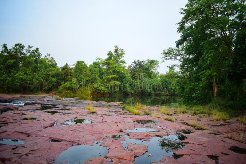 Landscape view of lalpather seems beautiful in Jharsuguda, Odisha in India. Lalpather is a picnic place in Jharsuguda, Odish, India . lalpather is also famous stock photos