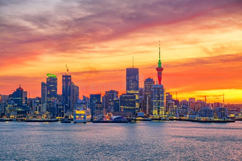 Landscape view of the largest city in New Zealand in Auckland, North Island. New Zealand royalty free stock photography