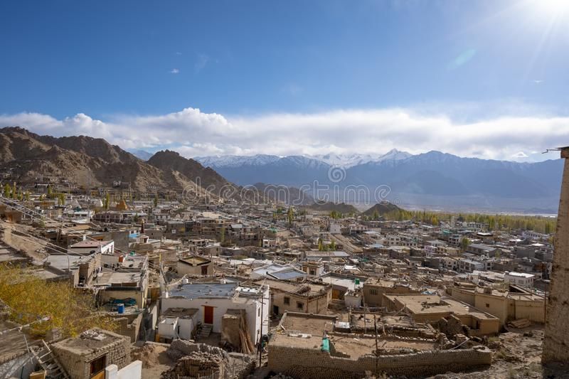 A landscape view from the Leh Palace with Leh city top view, Leh Ladakh, India stock photography