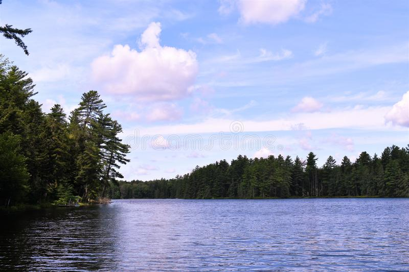Landscape view of  Leonard Pond, Colton,  St. Lawrence County, New York, United States. NY. US. USA. A landscape view of Leonard Pond, located near Tupper Lake royalty free stock images