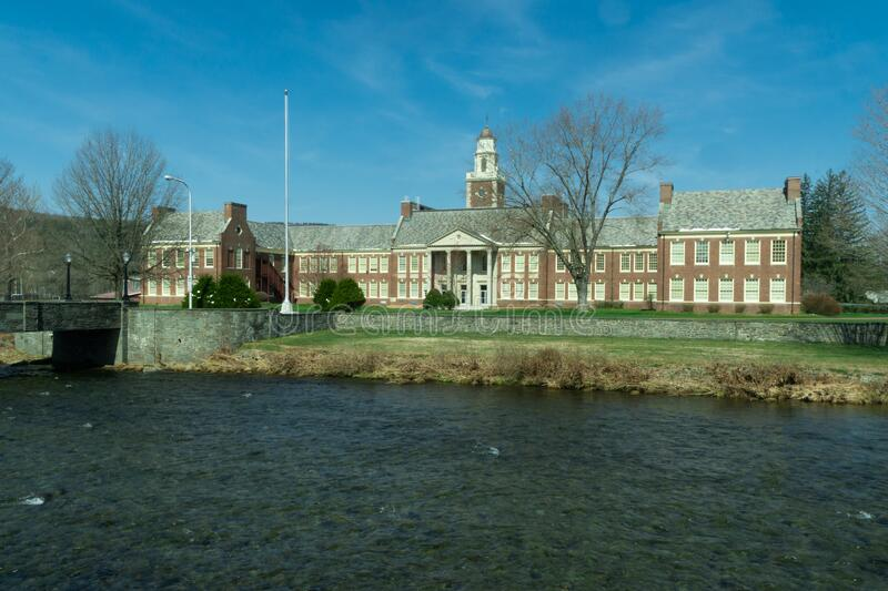 Livingston Manor, NY / United States - April 19, 2020: A view the Livingston Manor Central School. A landscape view the Livingston Manor Central School stock photography