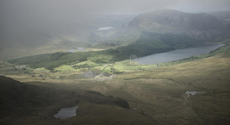 Landscape view of Llyn Cwellyn and Moel Cynghorion in Snowdonia royalty free stock images