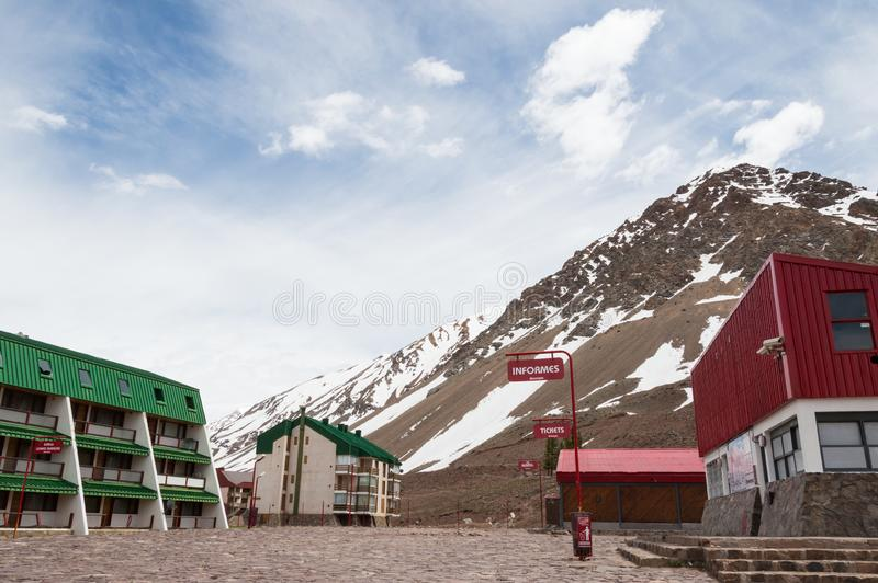 Los Penitentes ski center with Andes snowy mountains behind, and no people. Mendoza, Argentina. Landscape view of Los Penitentes ski center with Andes snowy stock photo