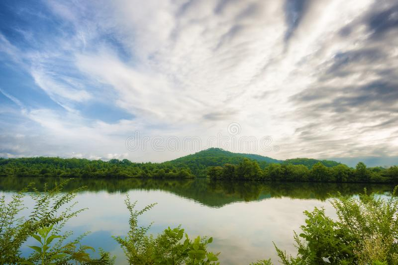 Landscape view of Milton Lake in Oak Ridge Tennessee. Landscape view from the shore of Melton Lake Park. Stunning view of reflecting calm waters under cloudy royalty free stock photos