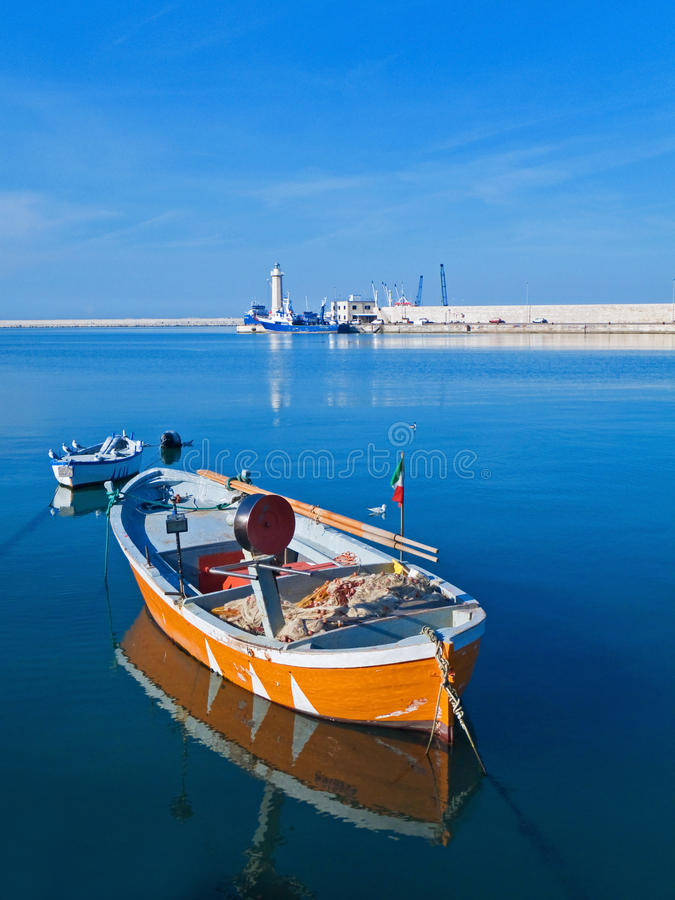 Landscape view of Molfetta touristic port with row royalty free stock photography