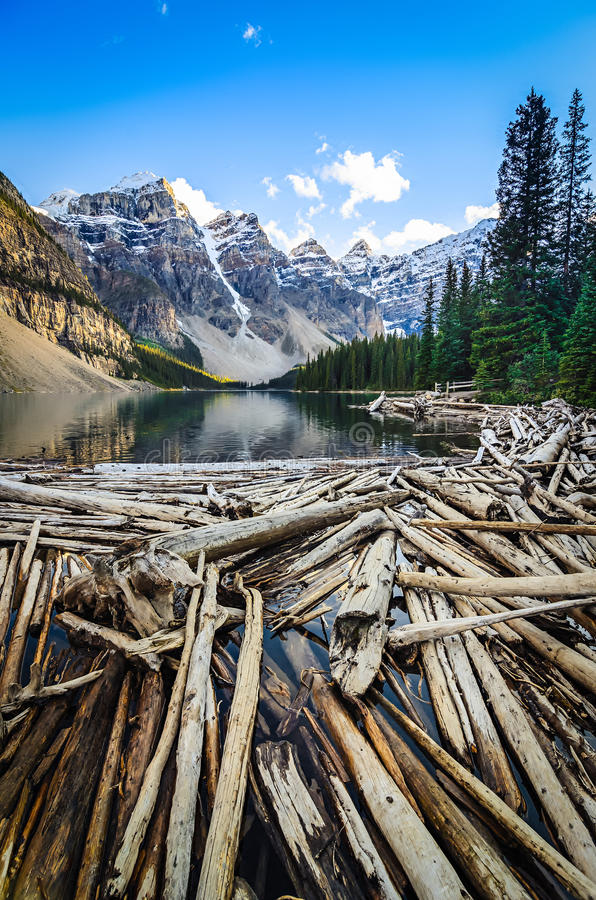 Download Landscape View Of Moraine Lake And Mountais In Canadian Rockies Stock Photo - Image: 49667674