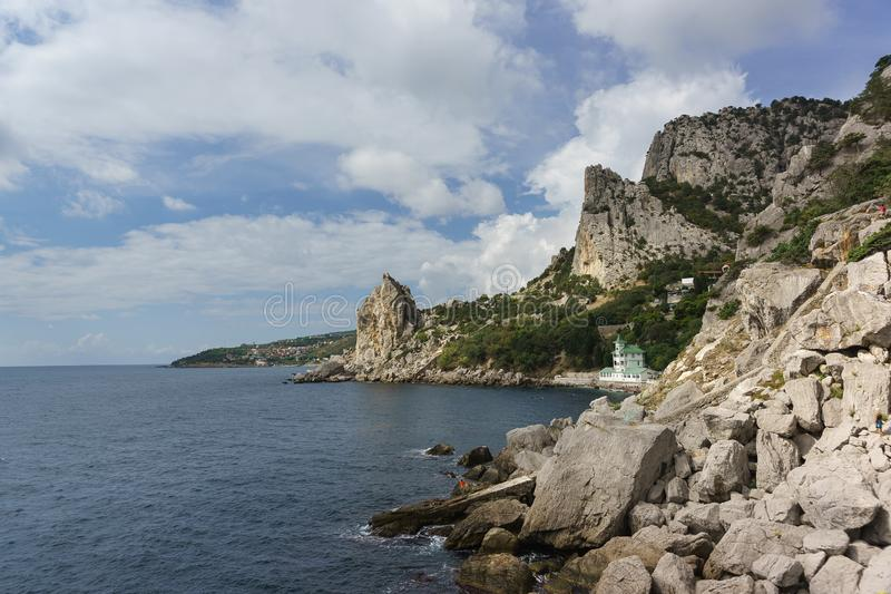 Landscape view of mount Cat and the village of Katsiveli from the cliff Diva in the resort village Simeiz. Crimea, Yalta stock photo