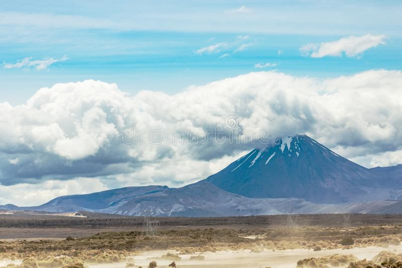 Landscape view of Mount Ngauruhoe, New Zealand stock photos