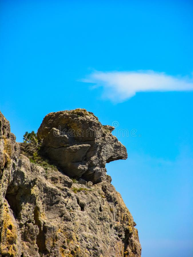 Landscape view of the mountain and blue sky from the ground in the Crimea stock image