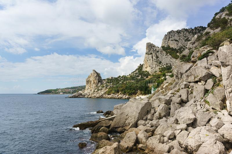 Landscape view of the mountain Cat from the rock Diva in the resort village Simeiz. Crimea, Yalta stock photos