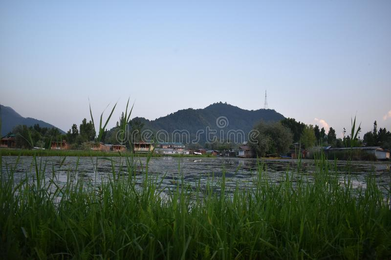 Landscape view of a mountain from Dal lake, Srinagar, Jammu and Kashmir, India stock images