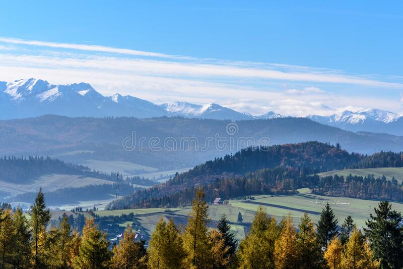 Landscape View of Mountain and Tress during Sunny Day royalty free stock photography