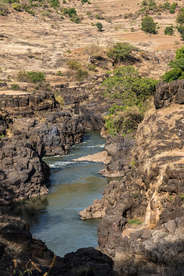 Landscape view near the Blue Nile falls, Tis-Isat in Ethiopia, Africa. Landscape view near the Blue Nile falls, Tis-Isat Falls, meaning great smoke in Amharic in stock images