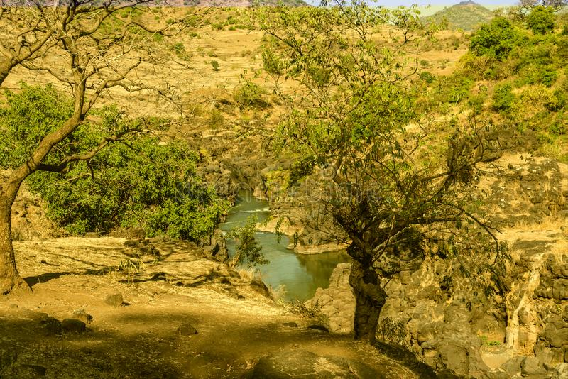 Landscape view near the Blue Nile falls, Tis-Isat in Ethiopia, Africa. Landscape view near the Blue Nile falls, Tis-Isat Falls, meaning great smoke in Amharic in stock photos