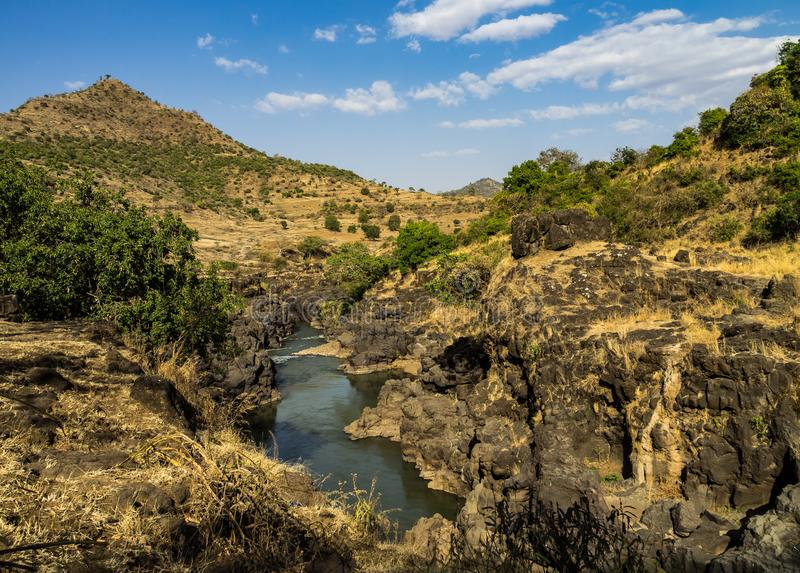 Landscape view near the Blue Nile falls, Tis-Isat in Ethiopia, Africa. Landscape view near the Blue Nile falls, Tis-Isat Falls, meaning great smoke in Amharic in royalty free stock photography