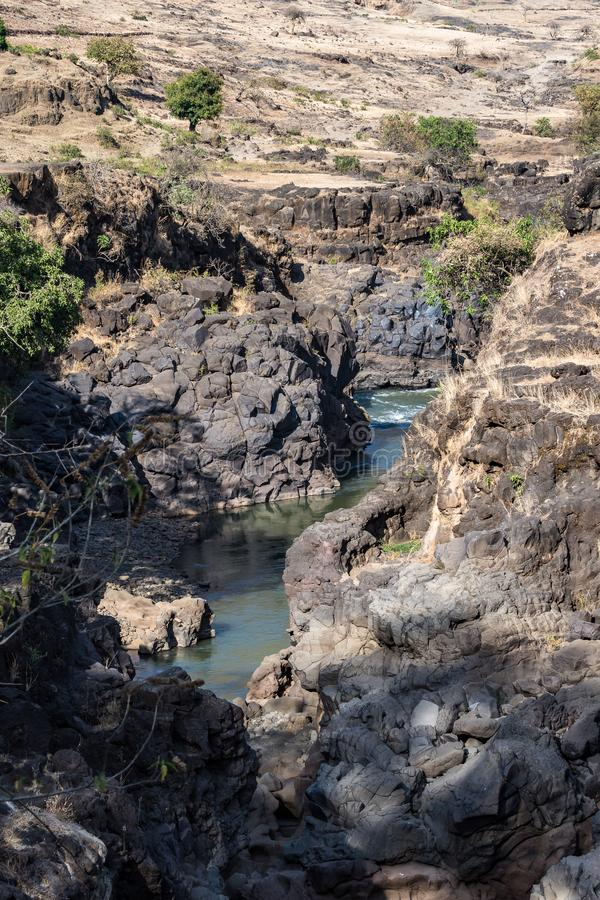 Landscape view near the Blue Nile falls, Tis-Isat in Ethiopia, Africa. Landscape view near the Blue Nile falls, Tis-Isat Falls, meaning great smoke in Amharic in stock image