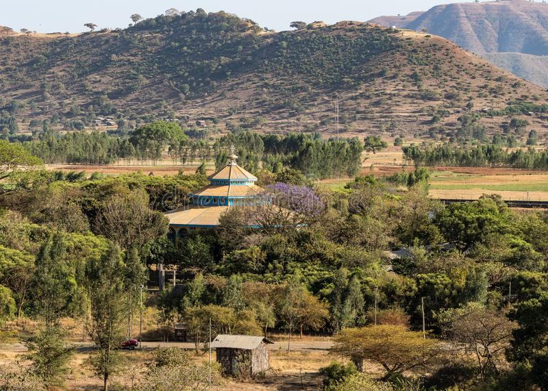 Landscape view near the Blue Nile falls, Tis-Isat in Ethiopia, Africa. Landscape view near the Blue Nile falls, Tis-Isat Falls, meaning great smoke in Amharic in royalty free stock image