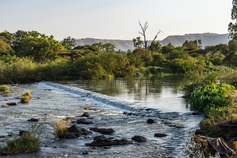 Landscape view near the Blue Nile falls, Tis-Isat in Ethiopia, Africa. Landscape view near the Blue Nile falls, Tis-Isat Falls, meaning great smoke in Amharic in royalty free stock photo