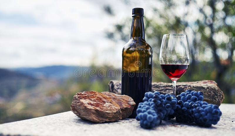 Glass bottle and glass of red wine on stone table with bunch of grapes and majestine background of mountains royalty free stock photography