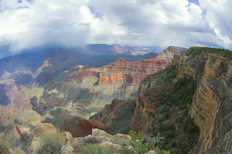 Grand Canyon with Scenic View and Dramatic Sky. This is a Landscape View from the one of the Seven Natural Wonders of the Earth called Grand Canyon with stock photos