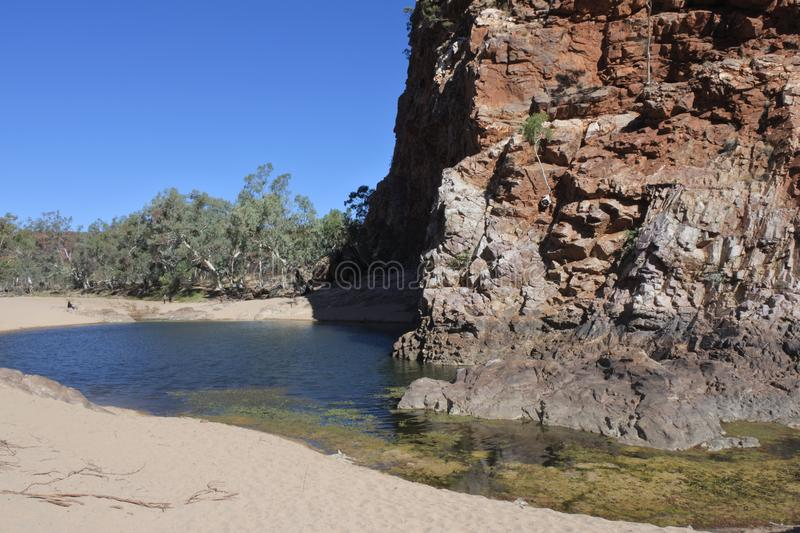 Ormiston Gorge Water Hole West MacDonnell National Park Northern Territory Australia. Landscape view of Ormiston Gorge Water Hole in West MacDonnell National stock photos