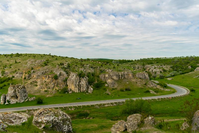 Landscape view over old rock formations in Europe in Dobrogea Gorges, Romania. Spectacular view over Dobrogea Gorges Reserve royalty free stock photos