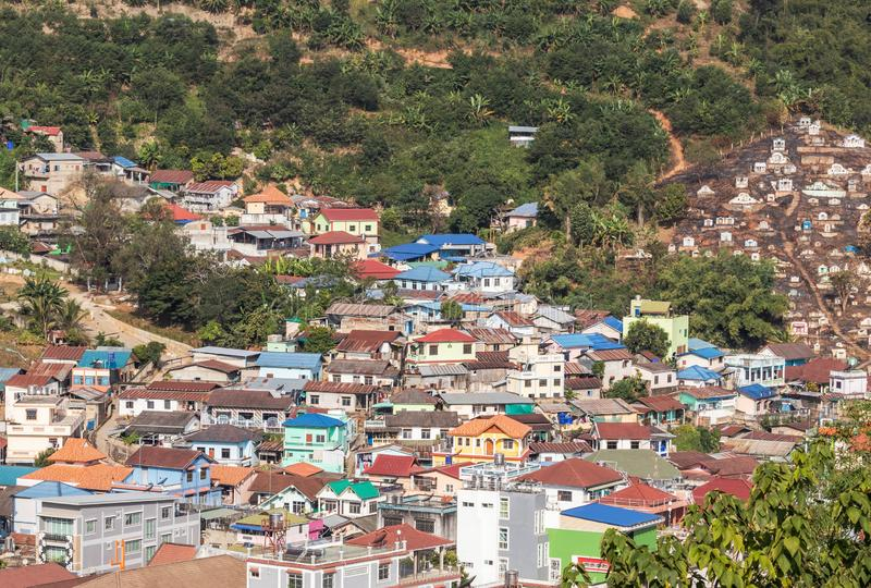 Landscape view over Tachileik community myanmar between border thai - myanmar from Wat Prathat Doi Wao temple view point at Maes. Ai, Chiangrai, Thailand in the royalty free stock images