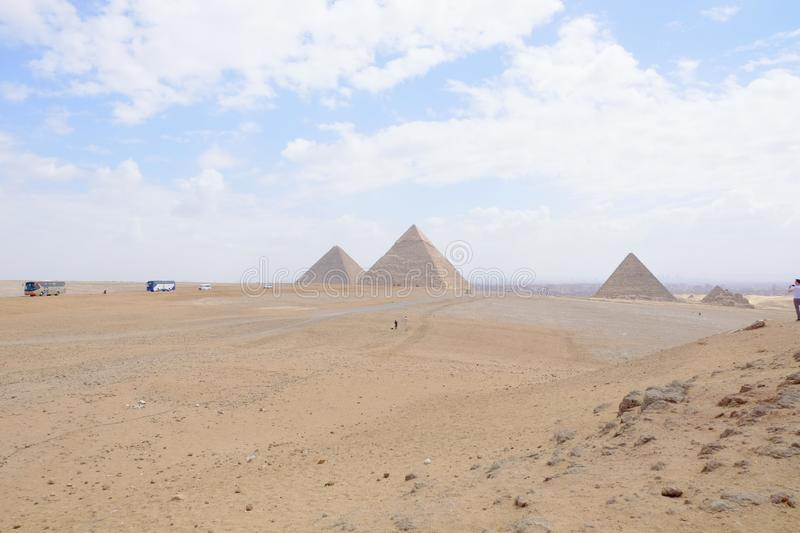 Landscape view at the Pyramids of Giza and Cairo. Landscape view pyramids giza cairo royalty free stock photography