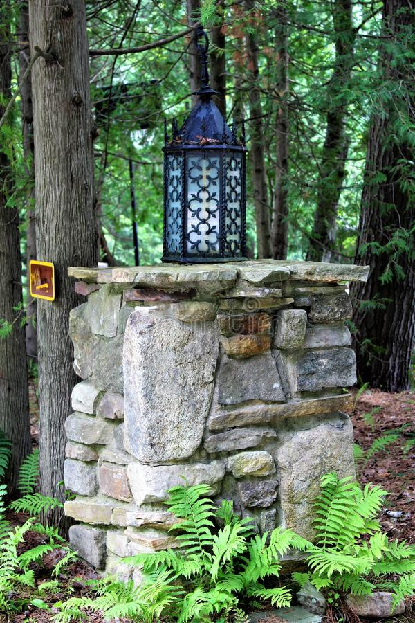 Lake Placid. Landscape view of residential entrance post at Lake Placid, New York village royalty free stock photos