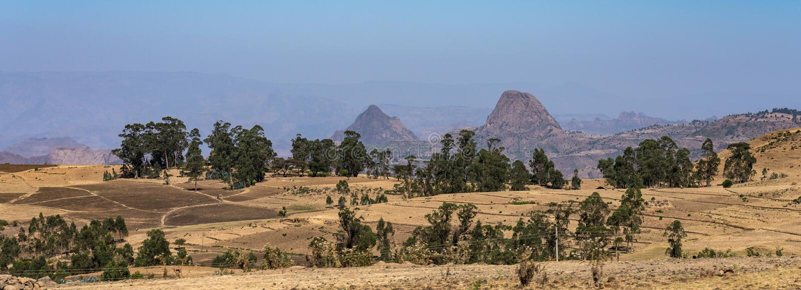 Landscape view between Gondar and the Simien mountains, Ethiopia, Africa. Landscape view on the road from Gondar to the Simien mountains, Noth Ethiopia, Africa stock images