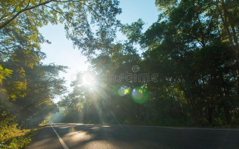 The road on morning and sunrise royalty free stock photos
