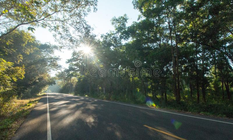 The road on morning and sunrise royalty free stock photo