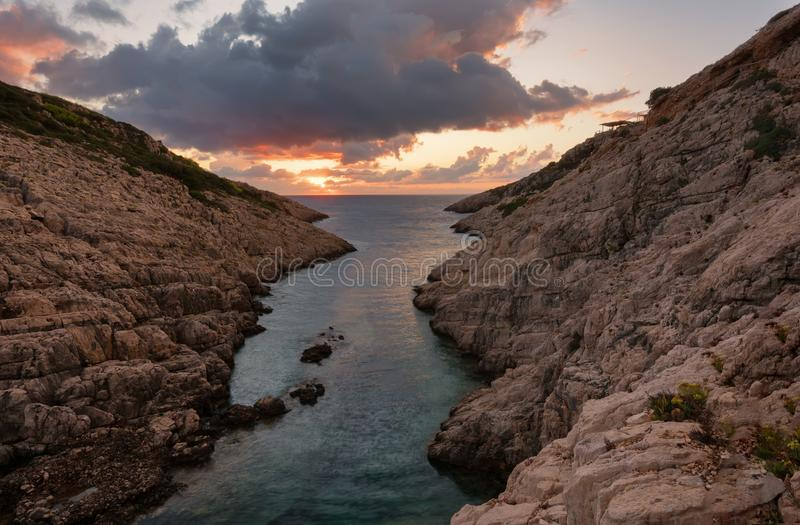 Landscape view of rocky formations Korakonisi in Zakynthos, Greece.Beautiful summer sunset, magnificent seascape. royalty free stock images