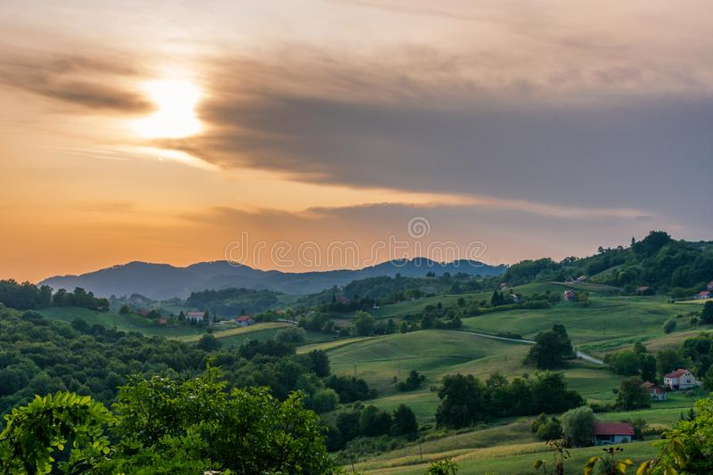Landscape view of rolling hills during sunset in autumn, Zagorje region in Croatia, Europe royalty free stock images