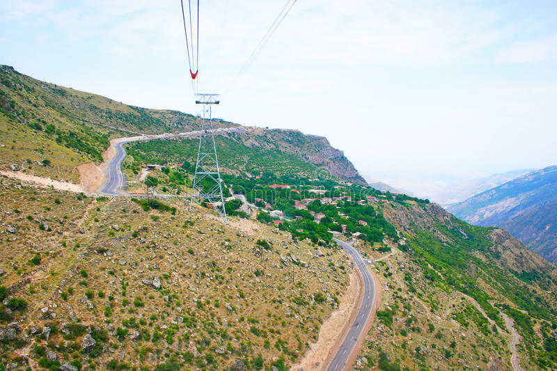 Landscape view from ropeway altitude stock photography