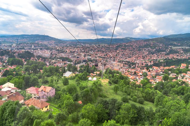 View of Landscape from Trebevic. Landscape view of Sarajevo from Trebevic Hill or Mountain stock image