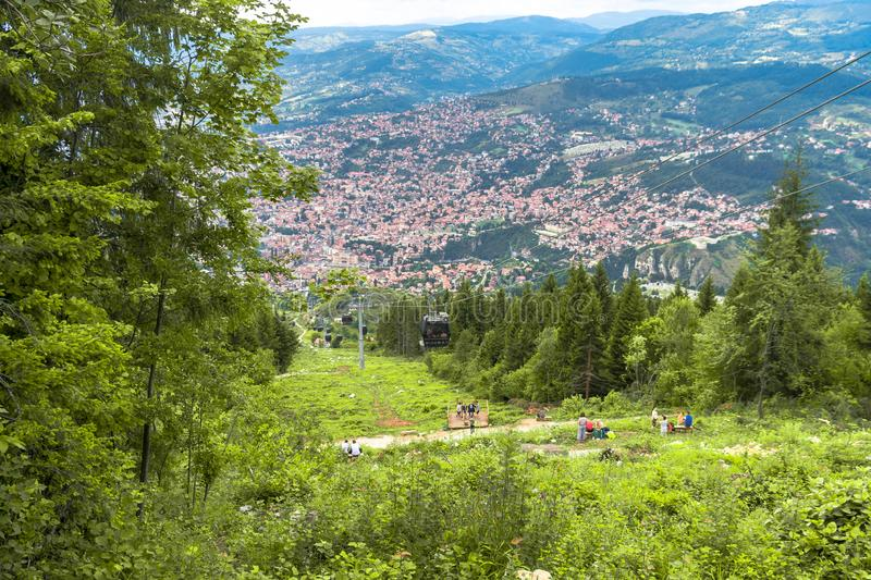 View of Landscape from Trebevic. Landscape view of Sarajevo from Trebevic Hill or Mountain stock photo
