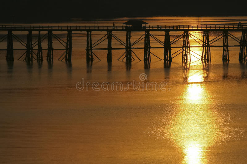 Download Landscape View Of Silhouette Bridge Across River Royalty Free Stock Image - Image: 25548836