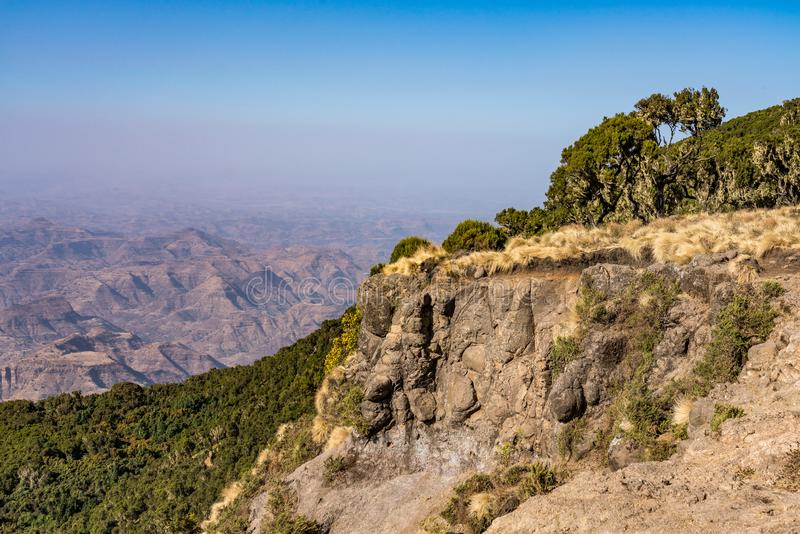 Landscape view of the Simien Mountains National Park in Northern Ethiopia stock photo