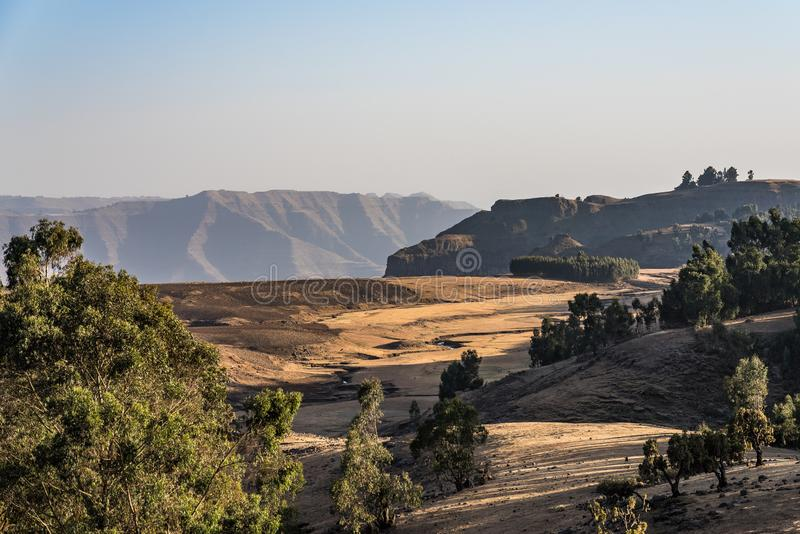 Landscape view of the Simien Mountains National Park in Northern Ethiopia. Africa royalty free stock photo