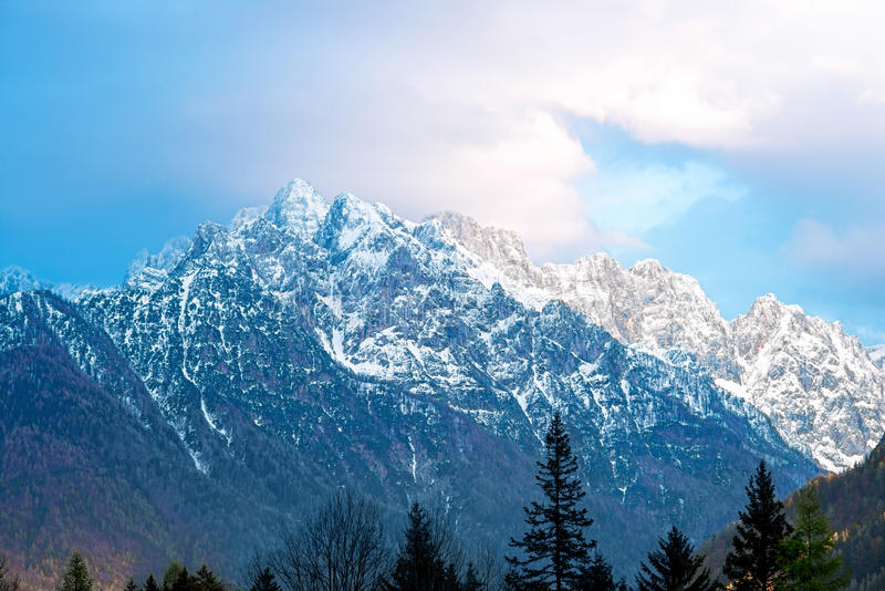 Landscape view on slovenian alps royalty free stock images