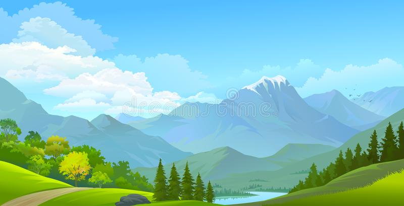 Landscape view of snow covered mountains, green meadows and a river stock illustration